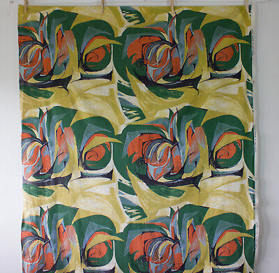vintage 1958 Heals Sweet Corn Barbara Brown abstract floral cotton fabric