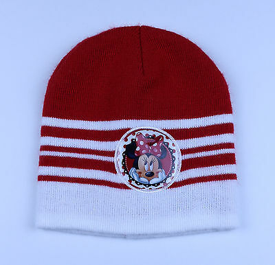 Disney Minnie Mouse Toddler Girls Hat Red White Stripes Toque Winter Cap Graphic