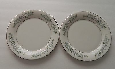 Castleton China USA Two Salad Plates Forever After pattern White w/ Blue Flowers