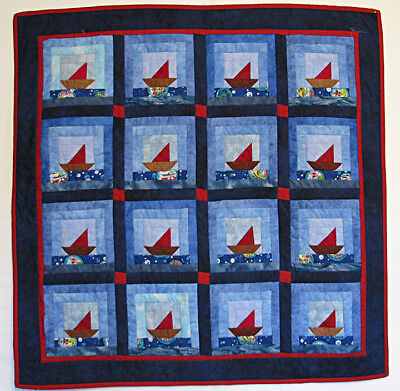 Baby Quilt or Wall Hanging Handmade Pieced Sailboats