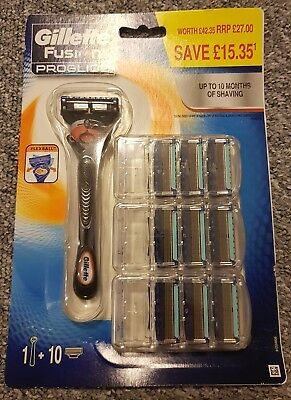 Original Gillette Fusion ProGlide with Flexball Technology Value Pack +10 Blades