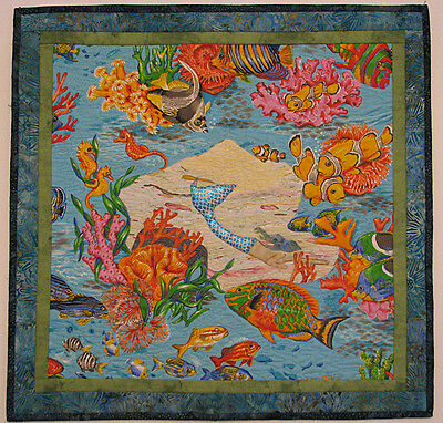 Art Quilt for Sale, Quilted Wall Hanging, Handmade, Mermaid, HMJQuiltsPlus