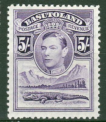 Basutoland-1938 Defs. 5/-value,SG27. Very fresh MM.
