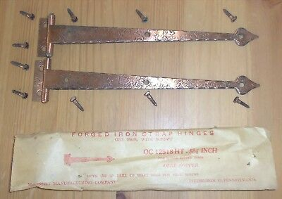 "Vintage McKinney 8 3/4"" Olde Copper Forged Iron T-Strap Hinges OC 12747"