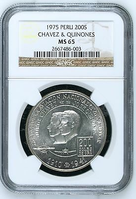 1975 Peru 200 Soles Aviation Heroes Chavez and Quiñones NGC MS 65 Silver Coin
