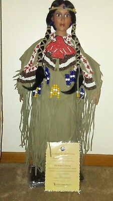 """Timeless Collection """"Red Wing"""" Porcelain Native American Doll"""