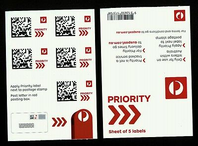 2016 Australia Post Priority Sheetlet of 5 labels MNH