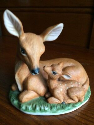 VTG Porcelain DOE with/FAWN figurine by Homco #1441