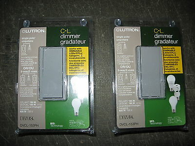 """"""" Lot of 2 """" Lutron Diva Dimmable CFL / LED Dimmer Switches DVCL-153PH-GRC GREY"""