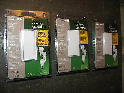 """"""" Lot of 3 """" Lutron Diva Dimmable CFL / LED Dimmer Switches DVCL-153PH-WH White"""