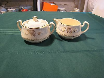 Vintage 22K Gold Homer Laughlin Blue Royal Splendor Cream & Sugar Bowl W/lid