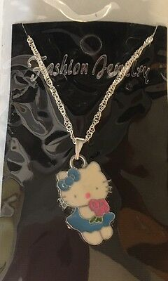 Hello Kitty Necklace Blue Dress Flowers