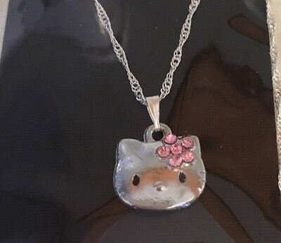 Hello Kitty Necklace Full Face Small Pink Rhinestones Flower