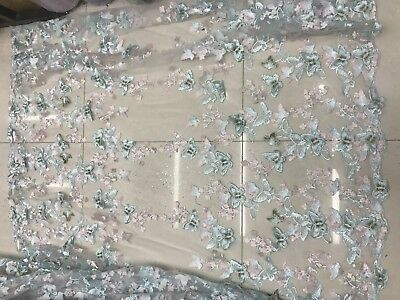 Embroidered  net Lace Dress Fabric mesh lace/light blue mesh fabric/butterflies