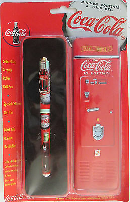 Coca-Cola Collectible Roller Ball Pen W/ Vintage Coke Vending Machine Tin HTF