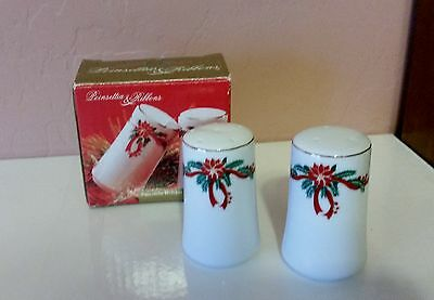"Porcelain Salt & Pepper Shaker ""Holiday Design"" 3.50"" Tall New"