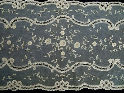 """Antique Brussels lace runner 42"""" x 15"""""""