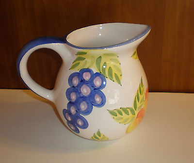 """Artist's Touch Large Pottery Pitcher """"Orchard Jubilee Pattern"""" by Heritage Mint"""