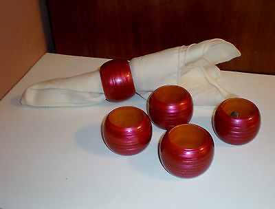Set of (5) High Gloss Round Wood Napkin Rings - Wine Color - Made in India