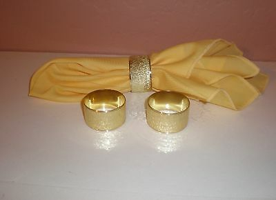 Set of (3) Gold Tone Brushed Metal Napkin Rings  Mint Condition