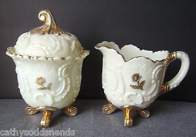 Antique Northwood Custard Glass Louis Xv Creamer And Covered Sugar Bowl