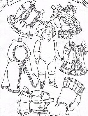"7""antique All Bisque German Doll Sailor Dress/hood-Cape&underwear Pattern French"