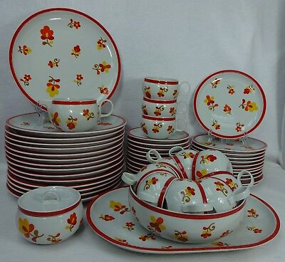 BLOCK china PAPRIKA pattern 55-piece SET SERVICE for 12 dinner soup cup saucer