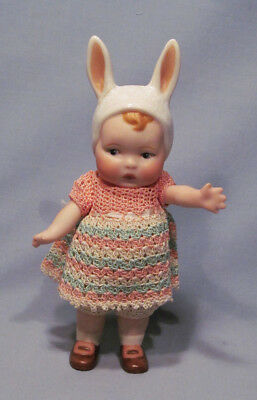 """Artist Signed Hand-Crafted Heubach Bunny Love Rabbit Ears 6"""" Dressed Bisque Doll"""
