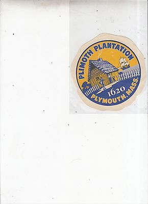 Vintage Plymouth Plantation car decal Plymouth Mass