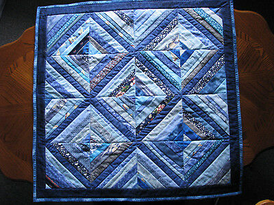 Quilted Table Topper Handmade Pieced Blues Table Runner HMJQuiltsPlus