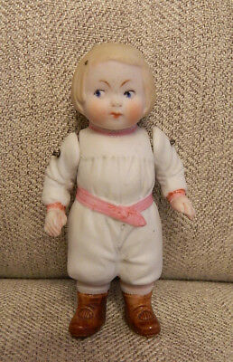 """Antique 4"""" All Bisque German Character Googly Doll Wired Jointed Molded Clothes"""