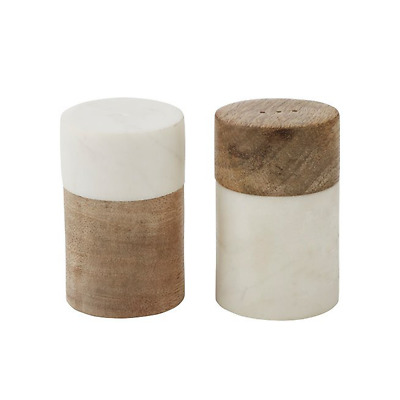 Academy Eliot Salt & Pepper S&P Shaker Wood/Marble Set of 2 Dining/Table