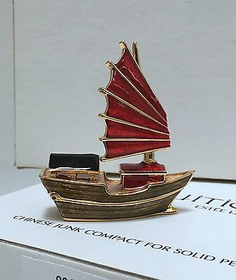 Chinese Junk Estee Lauder Intuition Solid Perfume Boat Compact Vtg Bnib Rare