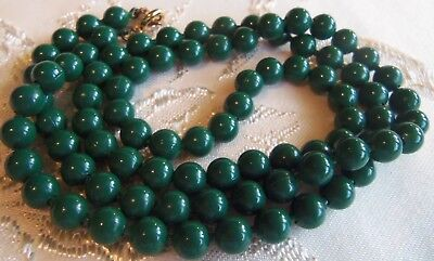 Art Deco Long  25 inch Emerald green Jade glass bead Necklace beautiful Designer