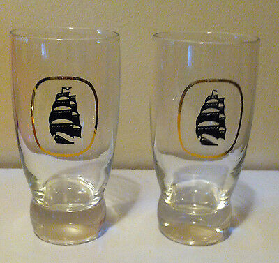 Set Of 2 Vintage Molson Export Beer Sailing Ship Glasses - Breweriana - Biere