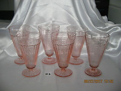 Set~6 Mayfair Open Rose Pink Footed Iced Tea Tumblers~Glasses 1931-37 Excellent
