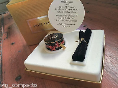 Estee Lauder Hat Box Saks High Style Rare Vtg Solid Perfume Compact Boxed Bnib