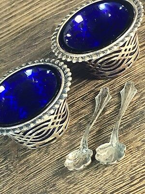 PAIR Cobalt Blue Glass & Reticulated Marked Sterling Silver Salt Cellar W/ Spoon