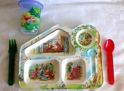 Winnie-The-Pooh Child's Shaped Dinner Plate Cup Cutlery Set NEW