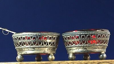 Antique Pair Sterling Silver Footed Open Work SALT CELLAR Shell Glass Insert