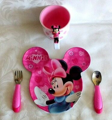 Disney ZAK! MINNIE MOUSE EAR-SHAPED MELAMINE Childs PLATE CUP CUTLERY Set NEW
