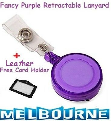 Purple Retractable Lanyard ID Name Badge Card Holder Business Security Pass Tag