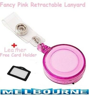 Pink Retractable Lanyard ID Name Badge Card Holder Business Security Pass Tag