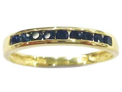 Sytruemeco 9Kt Yellow Gold Natural Black Sapphire Band Ring     Size 7    R1103