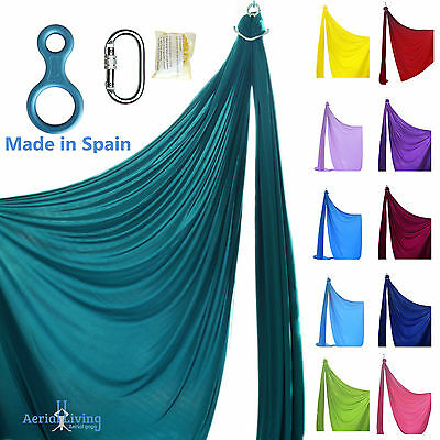 """Aerial silks Kit with carabiner and figure """"8""""  for acrobatics - made in SPAIN"""