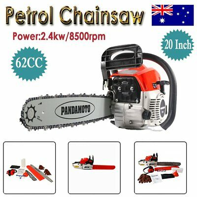 """62cc Petrol Commercial Chainsaw 20"""" Bar E-Start Pruning Garden Chain Saw Tools"""