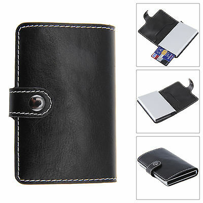Black Unisex Classic Slim Rfid Card Holder Leather Wallet Credit Card Protector