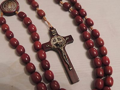 St Benedict Image Wooden Rosary Bead-Brazillian Cherrywood Wood Cross-Necklace