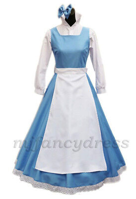 Womens Beauty and The Beast Belle Blue Dress Costume Blue Maid Fancy Dress