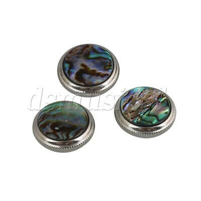 3 Pieces Chrome Plated Abalone Shell Trumpet Valve Key Finger Buttons